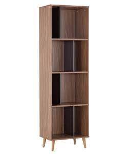 Hygena Berkeley Tall Bookcase Black And Walnut
