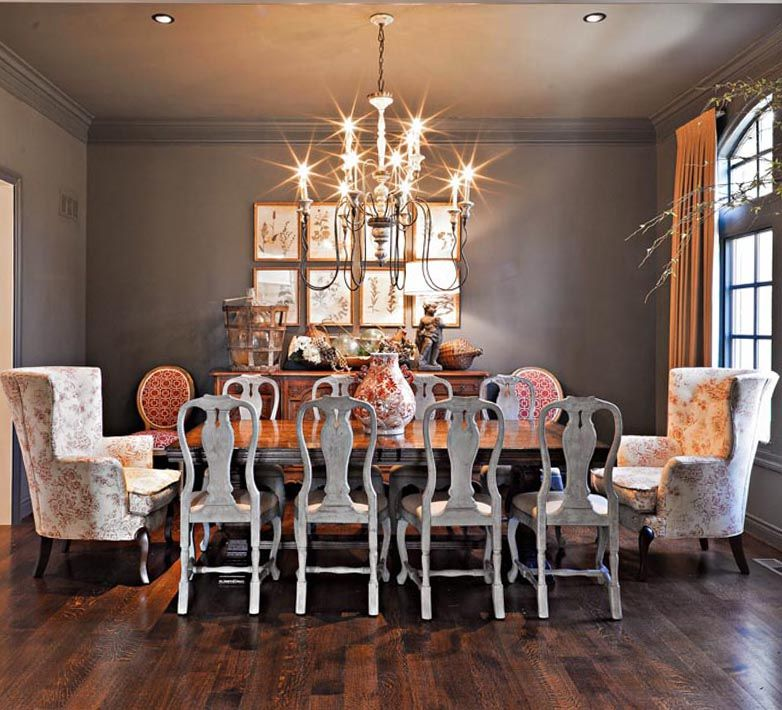 Dining Room From Nell Hills Love The Mix Of Formal And Antiqued Furniture