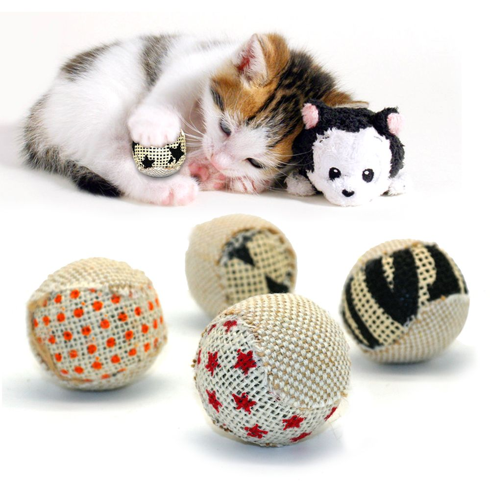 4pcs Pack Cat Interactive Ball Toy Kitten Chewing Rattling Sound Toys Pet Hollow Balls Interactive Cat Toys Pet Ball Cat Pet Supplies