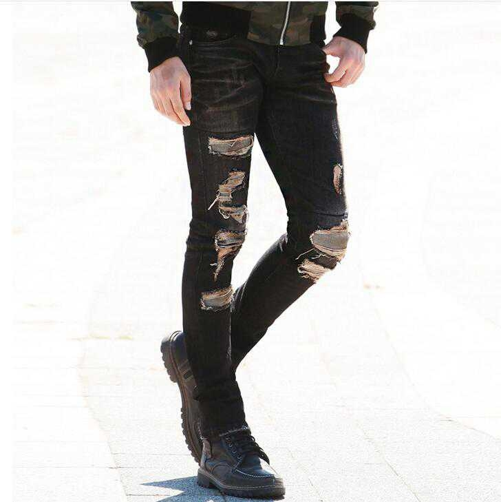 26.88$ Buy here - #1414 2017 Patchwork Black ripped jeans men ...