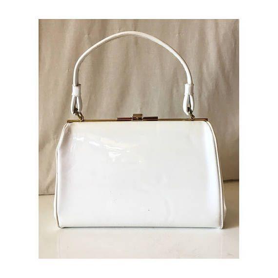 Vintage White Patent Leather Hand Bag Mid Century Vinyl Kelly