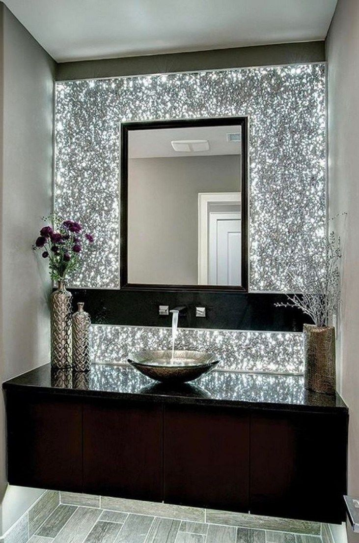32 Best Small Bathroom Design Ideas And Decorations For 2020: Glitter Bathroom Decor In 2020