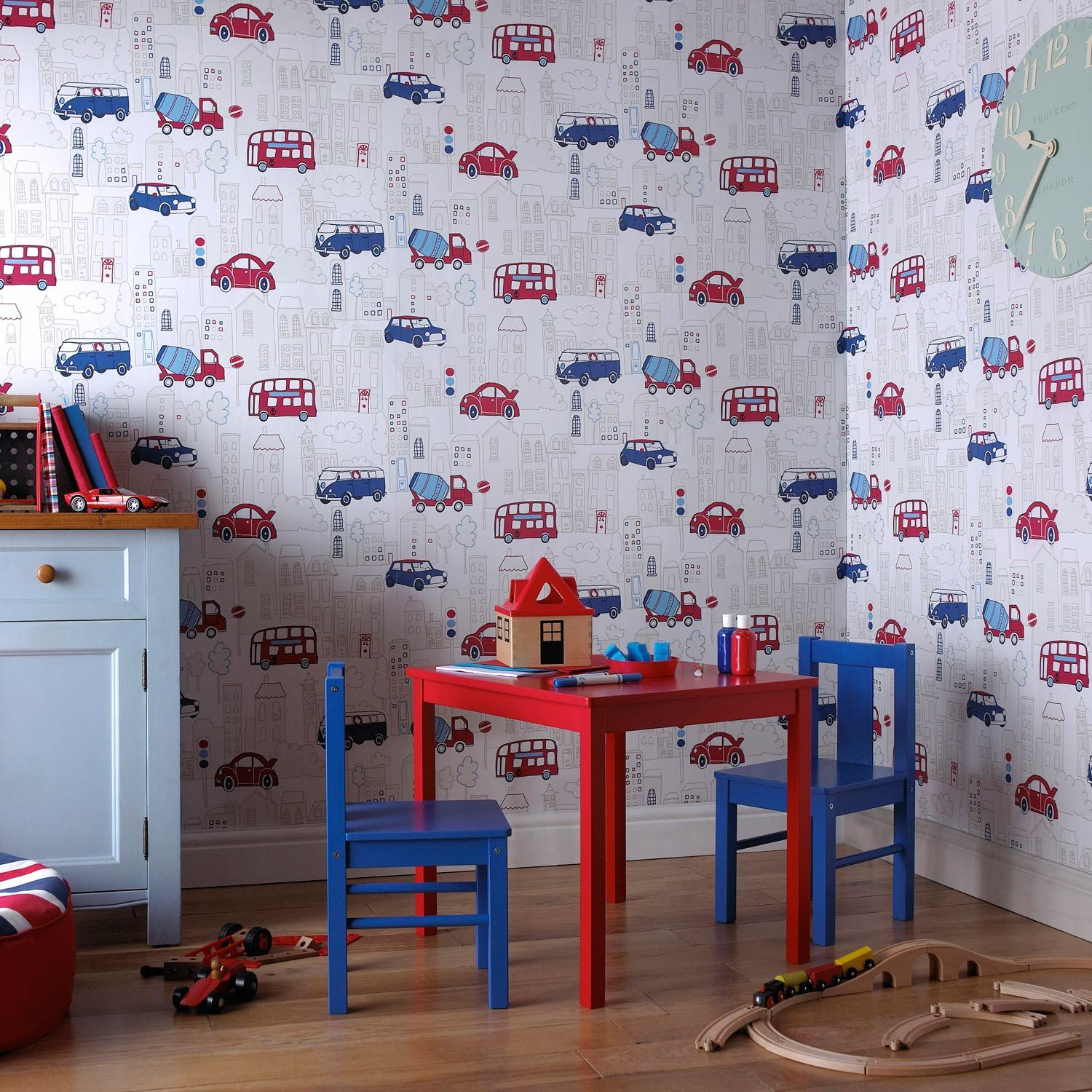 Buy The Blue And Red Motor Mania Wallpaper By Arthouse At The - Boys car wallpaper designs