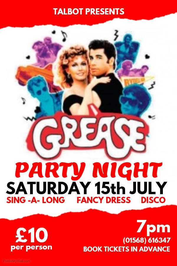 Grease Party Night At The Talbot Hotel Leominster Saturday 15th Of