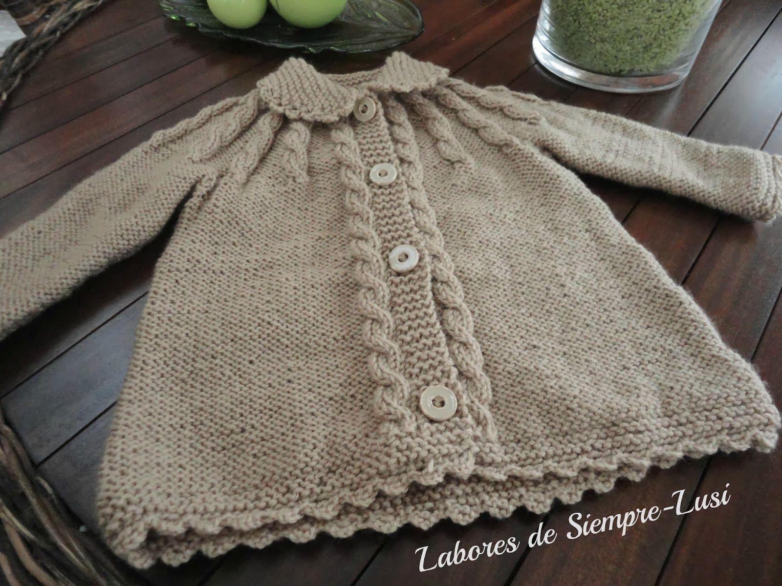 Labores de siempre abrigo de beb con trenzas talla 6 9 - Labores de crochet para bebes ...