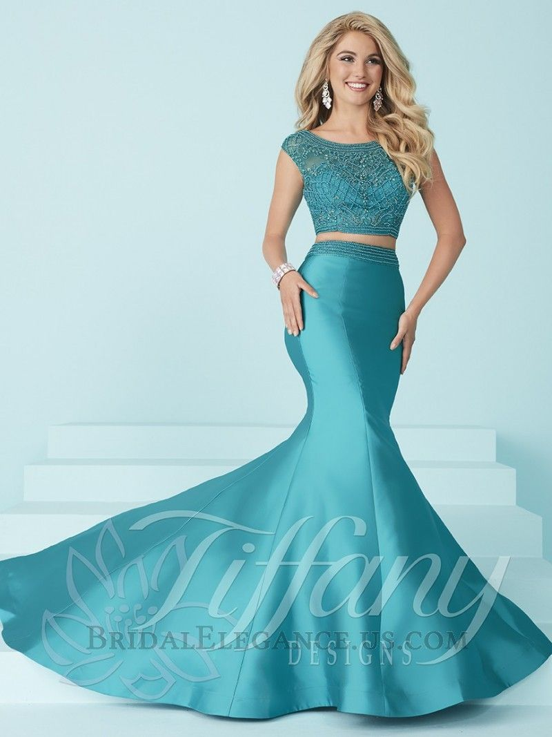 H.O.W. Tiffany 16225 is a TWO PIECE LONG DRESS: Boat neckline and ...
