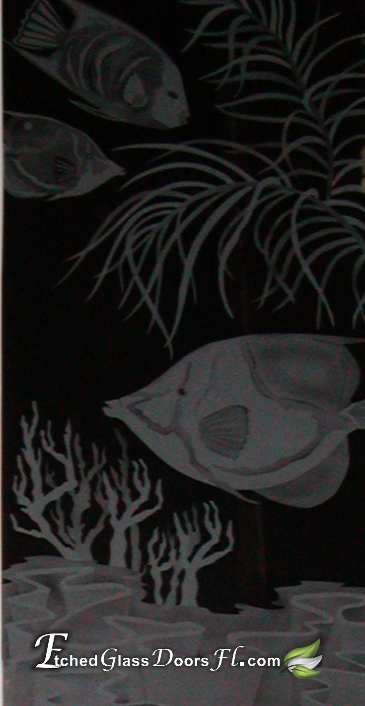 Glass door with etched fish over coral pathroom glass door insert