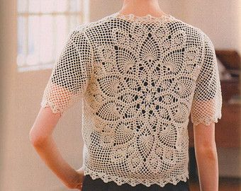 Japanese Crochet Pineapple Lace Cardigan Top Pattern Summer Spring - #3162-02