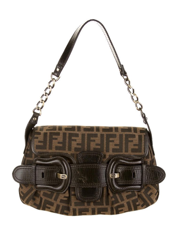 9a43cd8ec821 Brown and tan zucca canvas Fendi B. Buckle shoulder bag with brown leather  trim