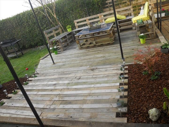 In This DIY Pallet Patio Furniture Project, A Specific Portion Of Home  Exterior Have Been Renovated With Pallets, How It Turned Out, ...