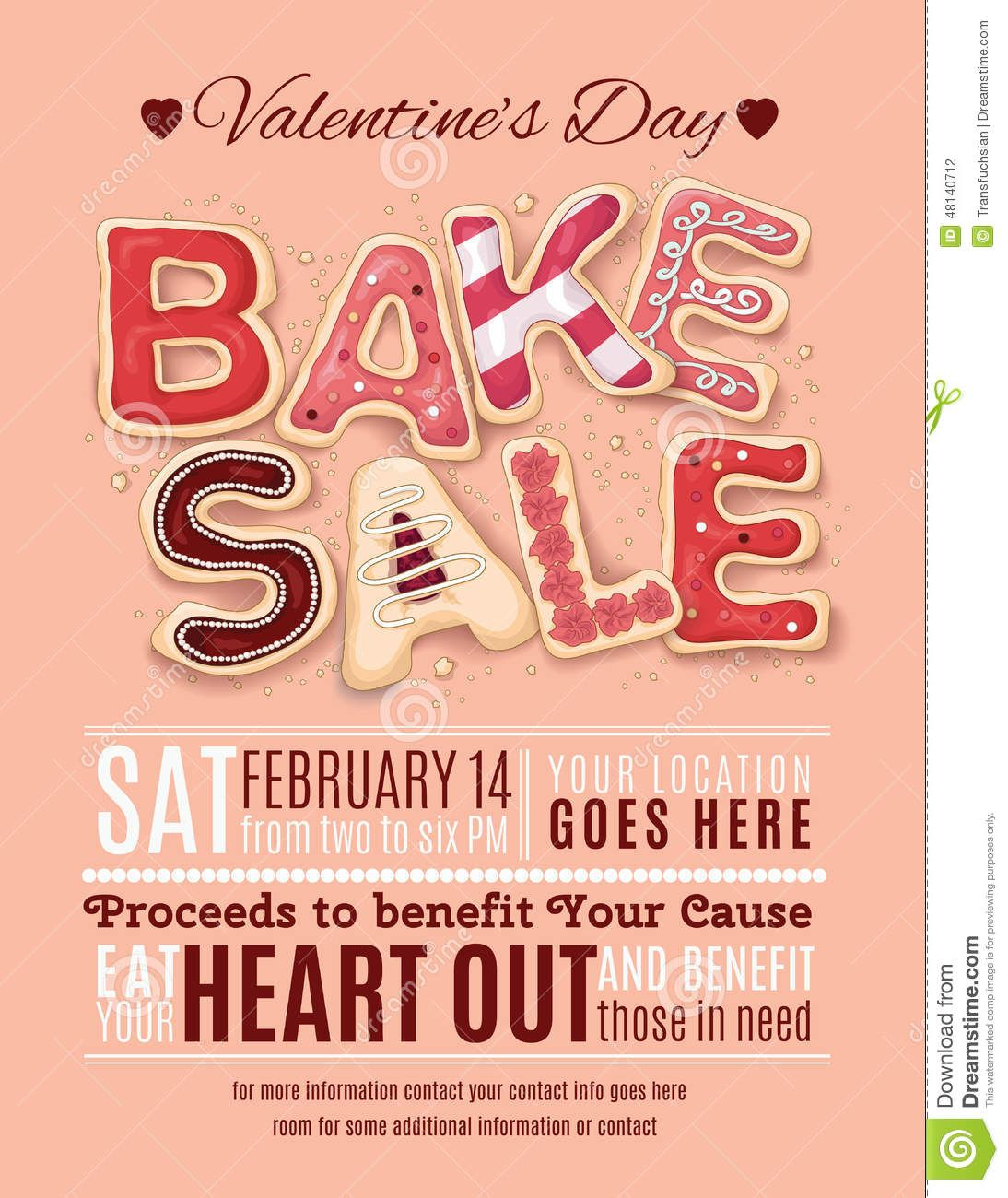 Hand Drawn Decorated Cookies That Say Bake Sale For A Valentineu0027s Day  Promotion On A Flyer, Brochure, Poster Template Layout   Buy This Stock  Vector On ...  For Sale Poster Template