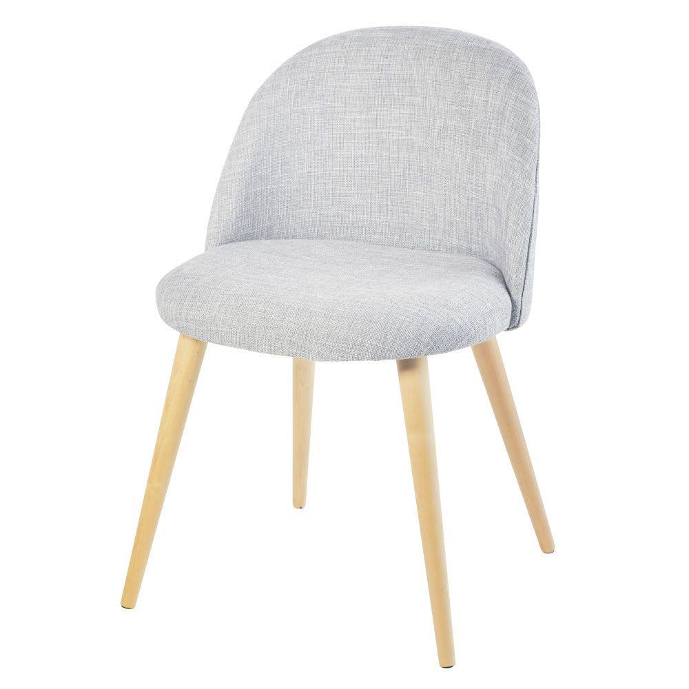 Hellgrau Melierter Stuhl Im Vintage Stil Und Birkenholz Mauricette Vintage Stoelen Stoelen Metalen Stoelen