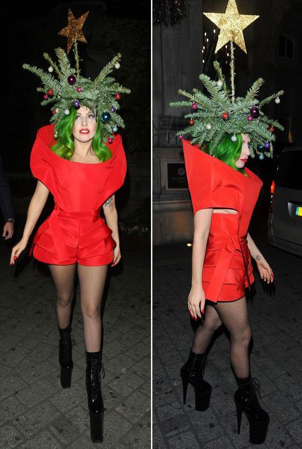 lady gaga christmas tree outfit london hotel jingle bell ball red dress christmas