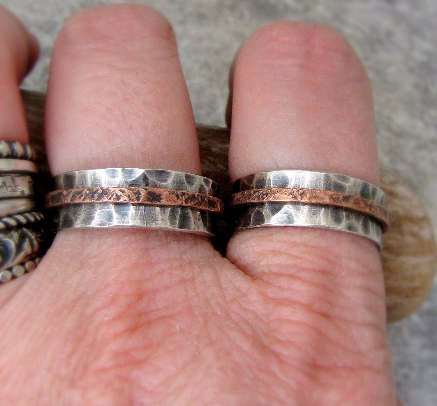 Silver Wedding Bands Hammered Rustic Wedding Rings Silver Copper ...