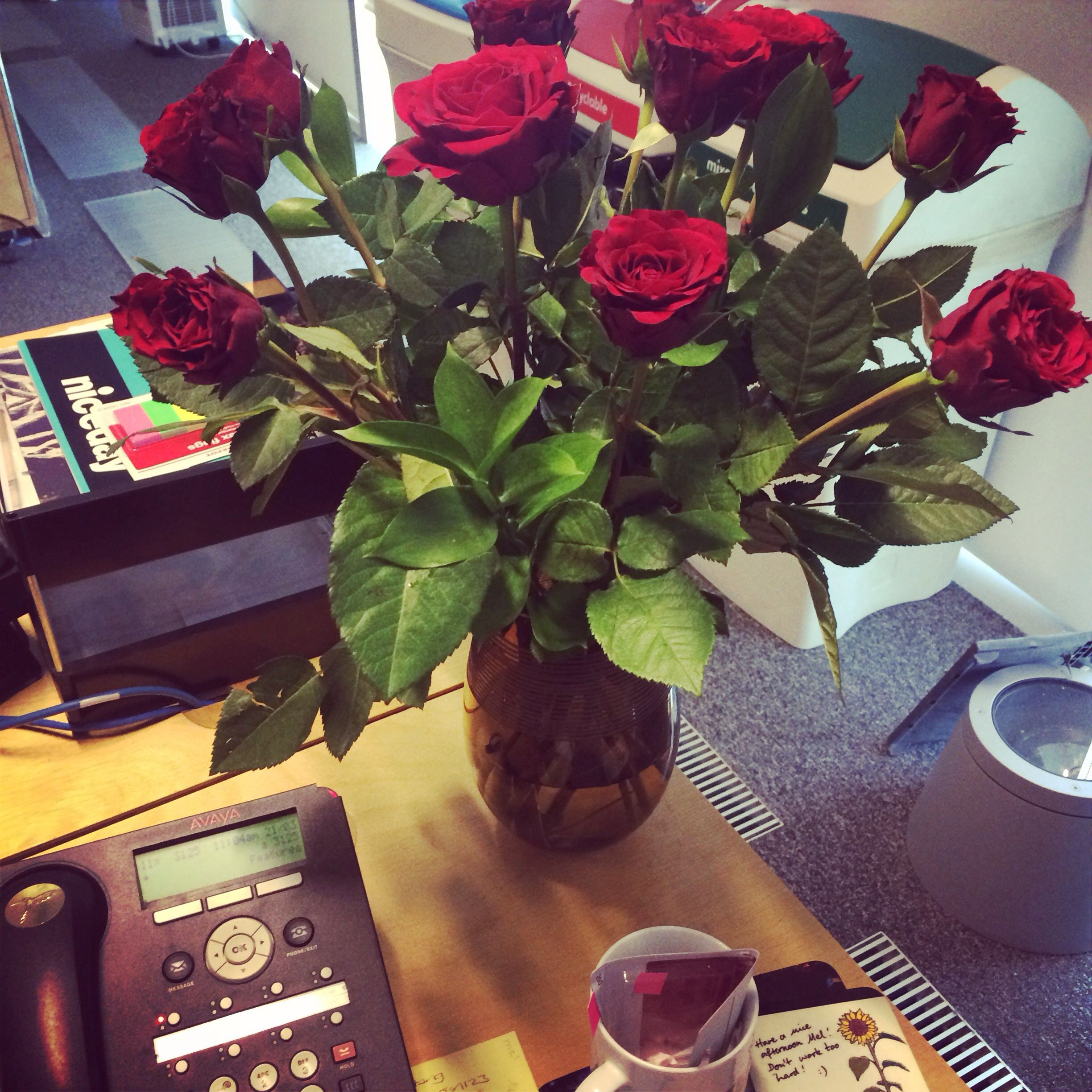 Flowers from my lovely boyfriend! #roses #office #surprise
