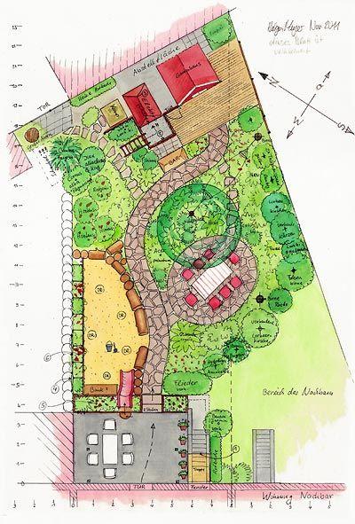 Ein Hinterhofgarten In Hamburg Altona Sitzplatz Unter Baumen Freistil Sandkiste Gartenhausche Garten Grundriss Garten Design Plane Garten Landschaftsdesign