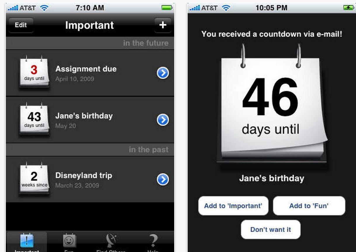 Calendar countdown app iphone in 2020 calendar