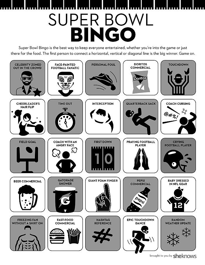 Printable Super Bowl Bingo Cards Keep Everyone Interested Even Sports Haters Super Bowl Bingo Super Bowl Bingo Cards Super Bowl Sunday