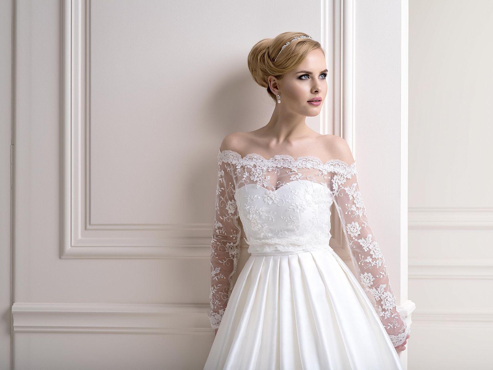 Long Sleeve Beaded Lace Bardot Bolero Dress Topper. A Very