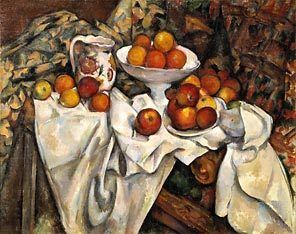 "Cezanne's oil-on-canvas painting ""Still Life with Apples and Oranges"" (ca. 1895-1900)"