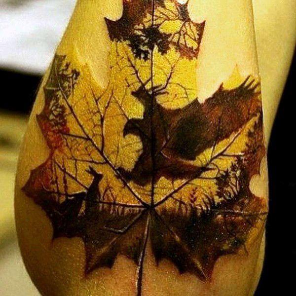 deer nature leaf tattoo designs for men black grey tattoos pinterest leaf tattoos. Black Bedroom Furniture Sets. Home Design Ideas