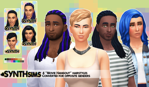 The Sims 4 | SP 05 Movie Hangout Stuff Hairstyles converted for male and female adult