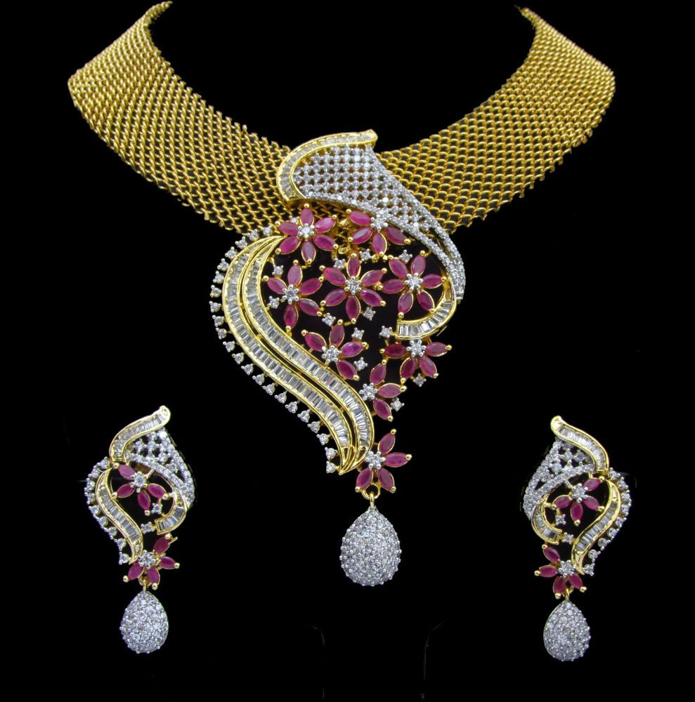 Indian cz ad gold u silver bollywood famous bridal necklace set swam