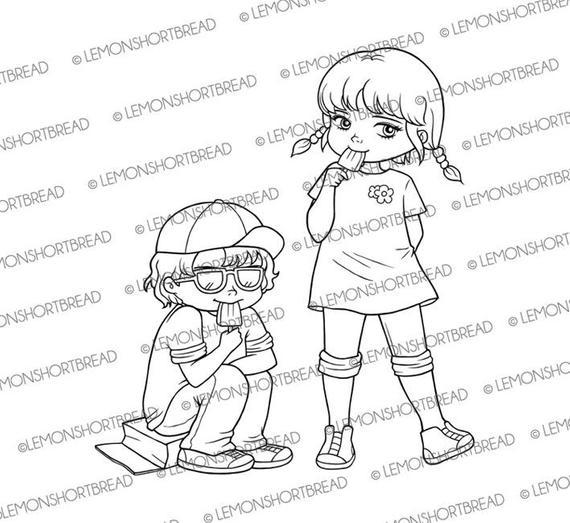 Boy Girl Coloring Page Clip Art Scrapbooking Digital Stamps Ice Cream Break Summer Kids Children Digi Download