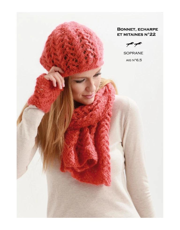 Bonnet, écharpe et chauffe-poignets pour dames | 3 petites mailles | Patron tricot gratuit ...