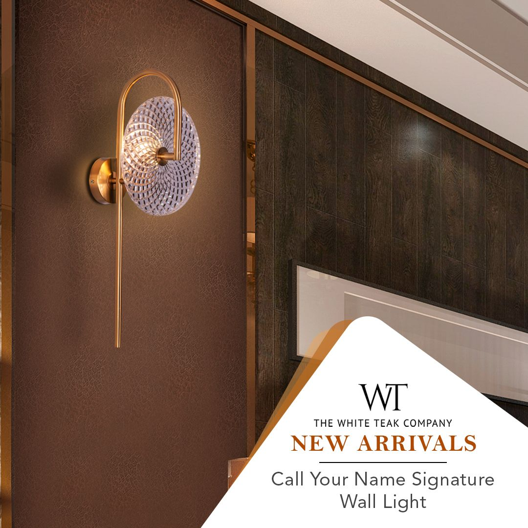 Adorn your walls with this delightful wall light, 'CALL YOUR NAME SIGNATURE'! Shop online or visit our showrooms. #WhiteTeak #HomeDecor #WallLight #HomeLove #InteriorDesign #InteriorDecor.⠀ Call : 1800-1030054