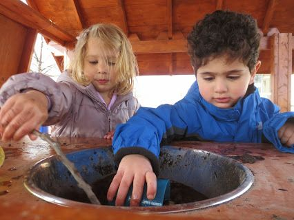 """As the warmer weather approaches, some PKs eagerly mix, stir, and pour soil and water. """"We made a mud soup!"""" they shared excitedly. #pkclass #photooftheday"""