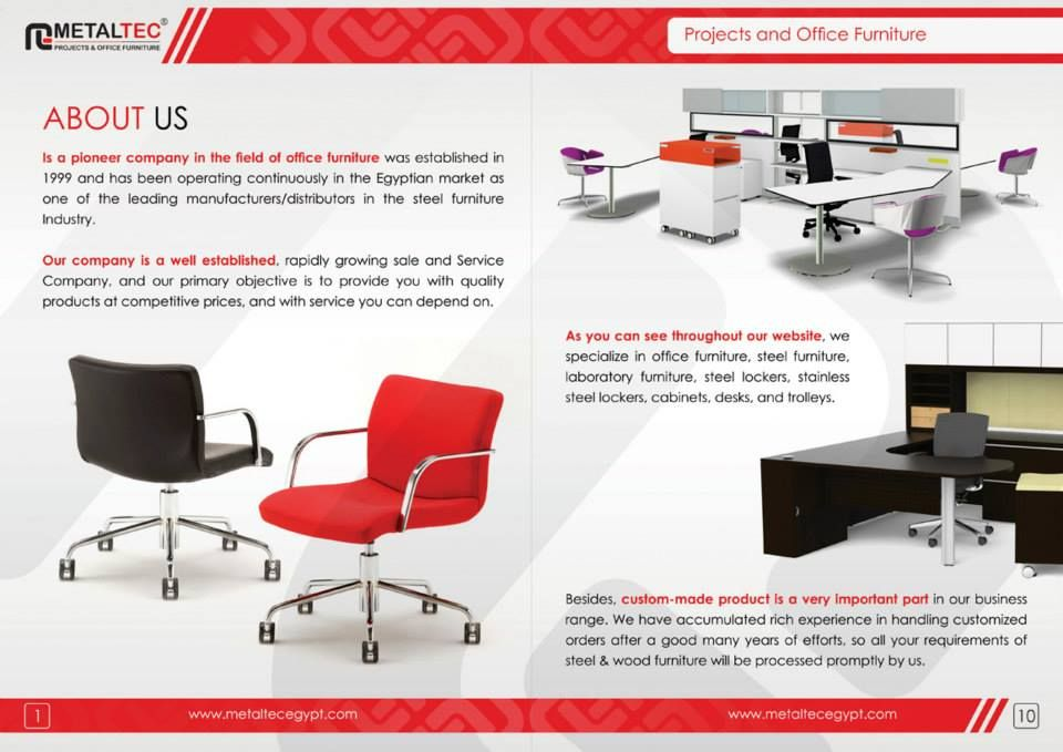 Brochure internal page design for office furniture company