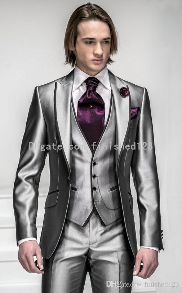 b164756a9a9389 New Style One Button Shiny Silver Grey Groom Tuxedos Groomsmen Men'S  Wedding Suits Best Man Suits