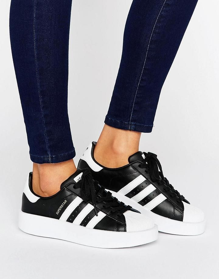 new styles c8a49 dae89 adidas Originals Bold Double Sole Black And White Superstar Sneakers -