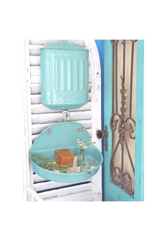 French Enamelware Lavabo Wall Sink Water Reservoir And