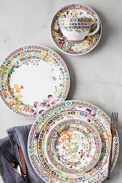 Gien Bagatelle Five-Piece Place Setting #anthrofave #anthroregistry