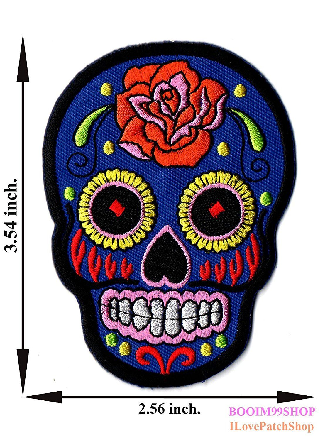 'Blue Rose Skull Sugar Sunny Buick Patch' Iron on Patch 3