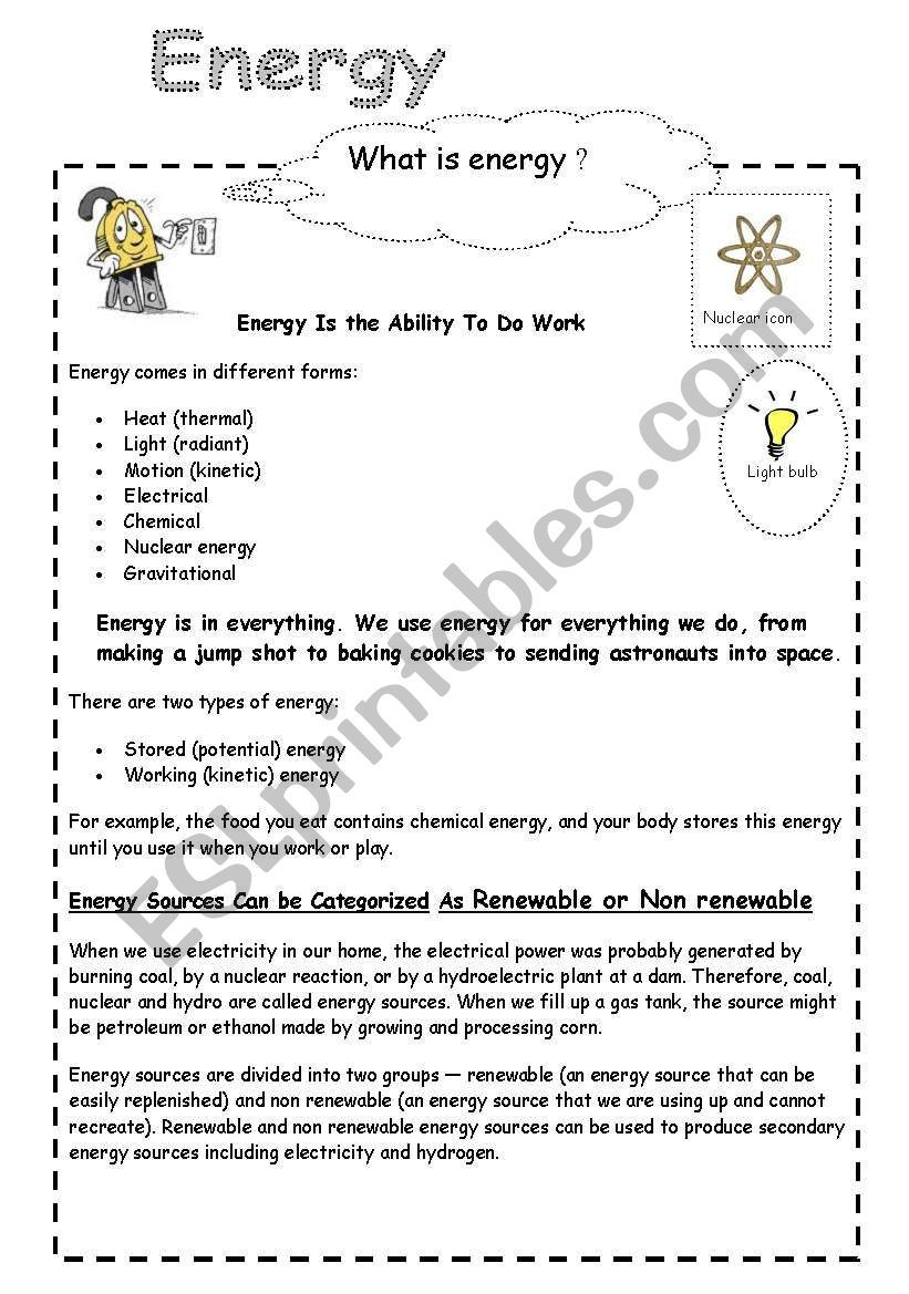 Energy And Electricity Worksheet What Is Energy Work Energy And Power Math Workbook