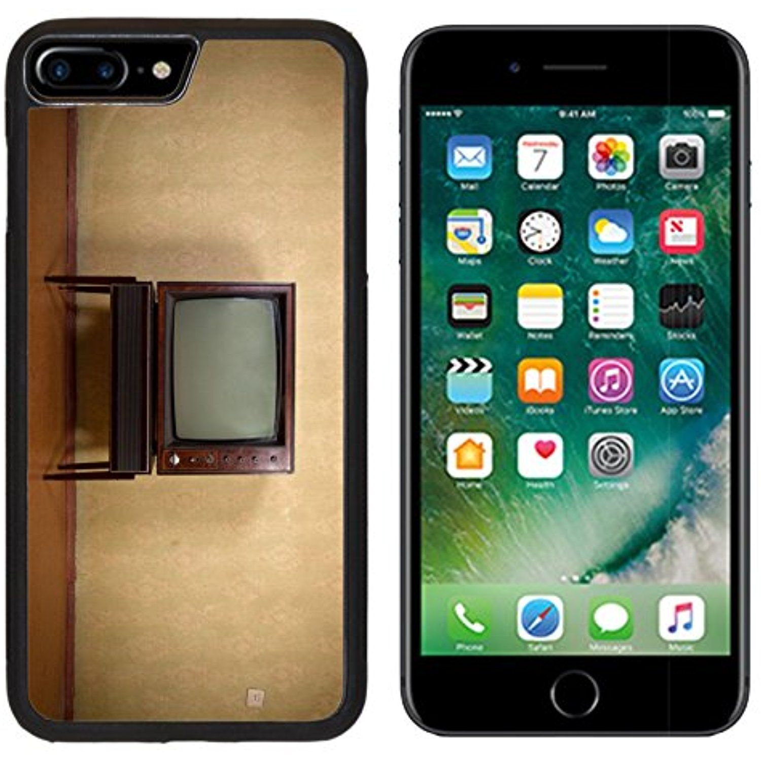 MSD Premium Apple IPhone 7 Plus Aluminum Backplate Bumper Snap Case IMAGE 26503802 Retro TV On A Background Of Vintage Wallpaper In Old Room With Vignetting