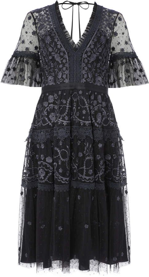 Midsummer Lace-Trimmed Embroidered Point D'esprit Tulle Dress by Needle & Thread | Moda Operandi -   16 DIY Clothes Lace girls ideas