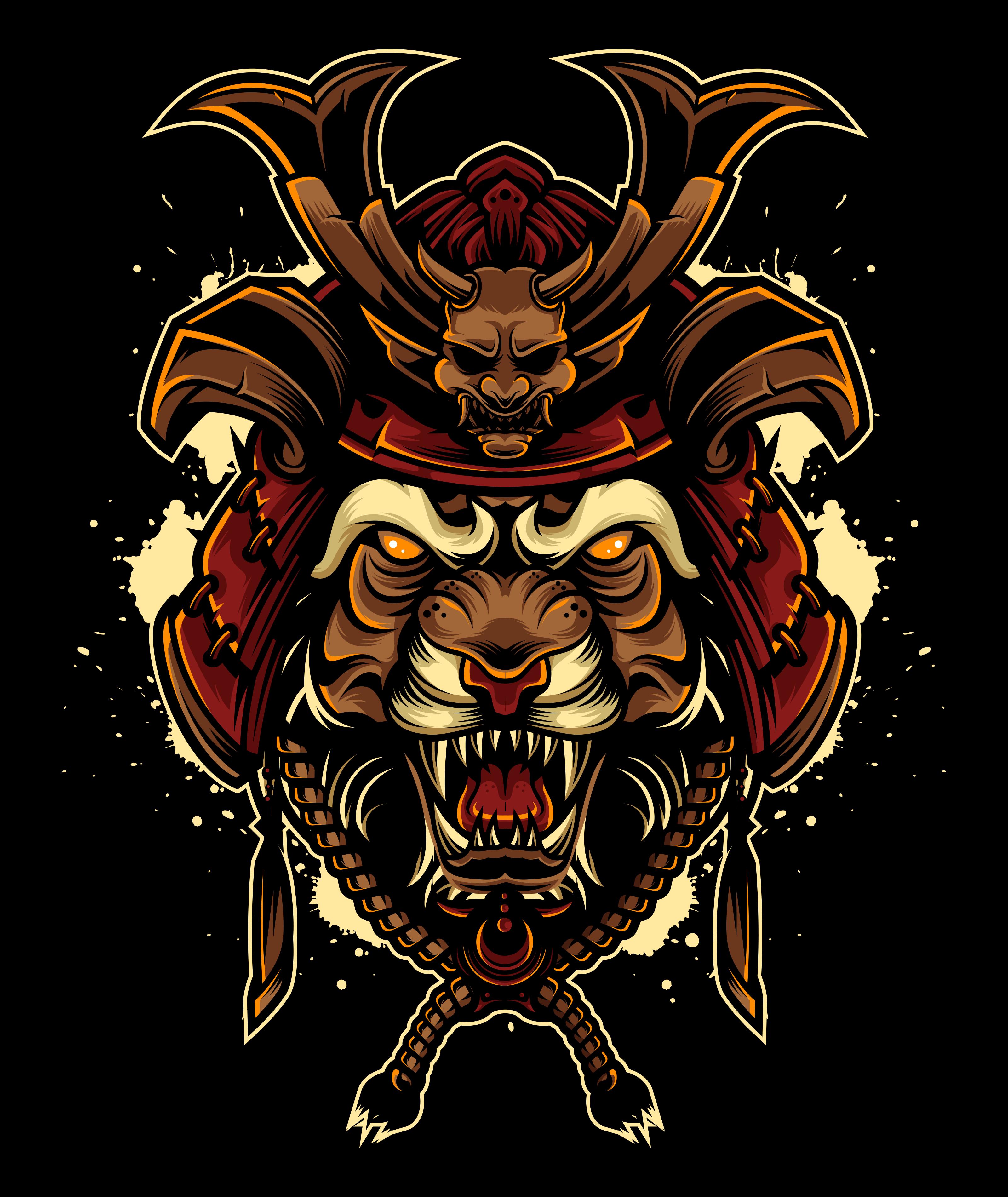 Angry Tiger With Japanese Samurai Helmet Ilustrasi Komik Ilustrasi Gambar