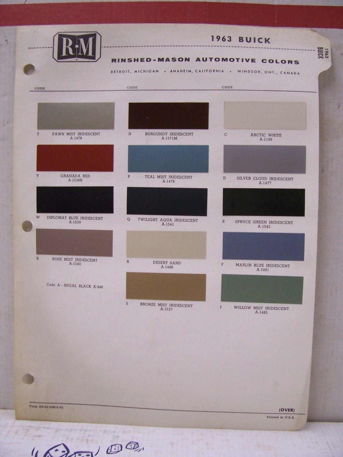1963 Buick Wildcat Riviera Electra LeSabre Paint Chips Color Chart R-M 63 Buick  Wildcat, Colour