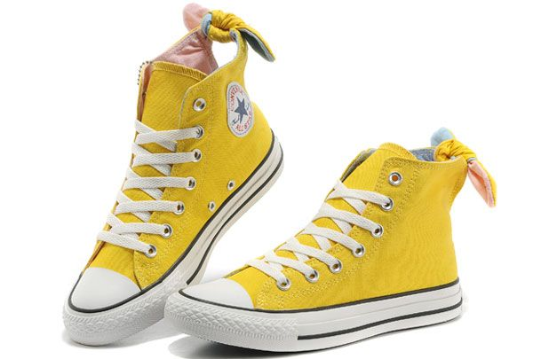2e00ce73107 Converse All Star Yellow Bowknot Girl Women Ladies High Tops Canvas Shoes  VIVI Magazine Recommend