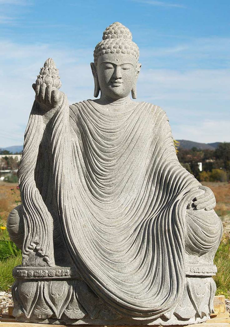 Sold stone buddha holding lotus 45 budas budismo y jard n de buda - Buda jardin ...