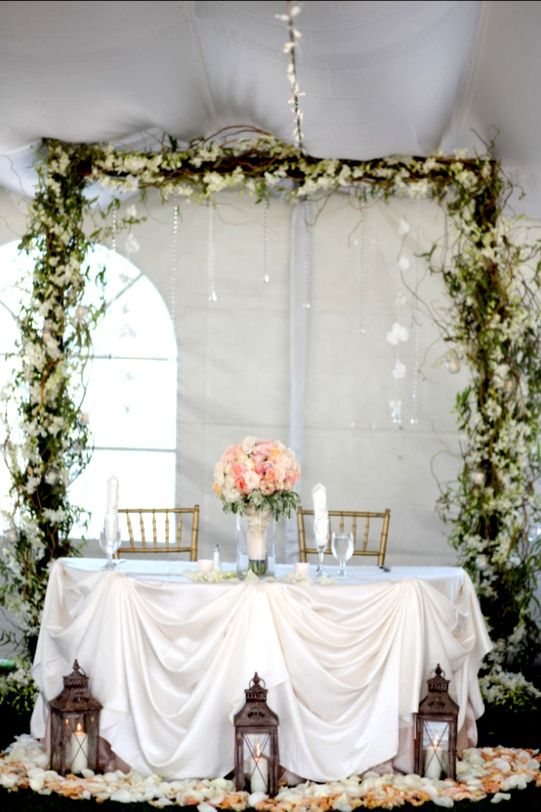 Wedding Sweetheart Table With Lanterns And Flower Petals Arch With