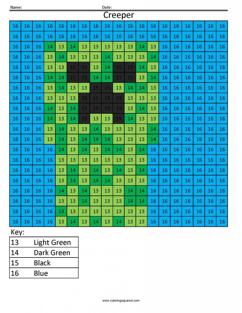 Minecraft Color by Number | Kids\' Stuff | Pinterest | Number ...