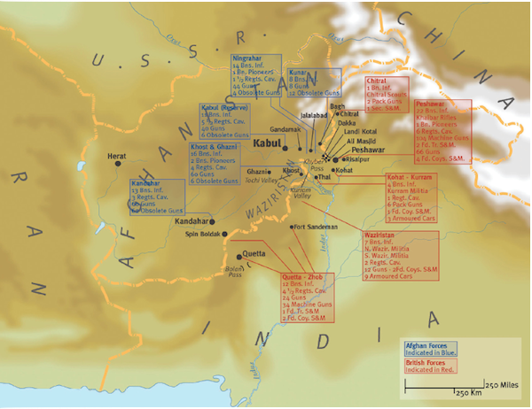 Map of the Third Afghan War 1919 - Military History Monthly Battle Maps