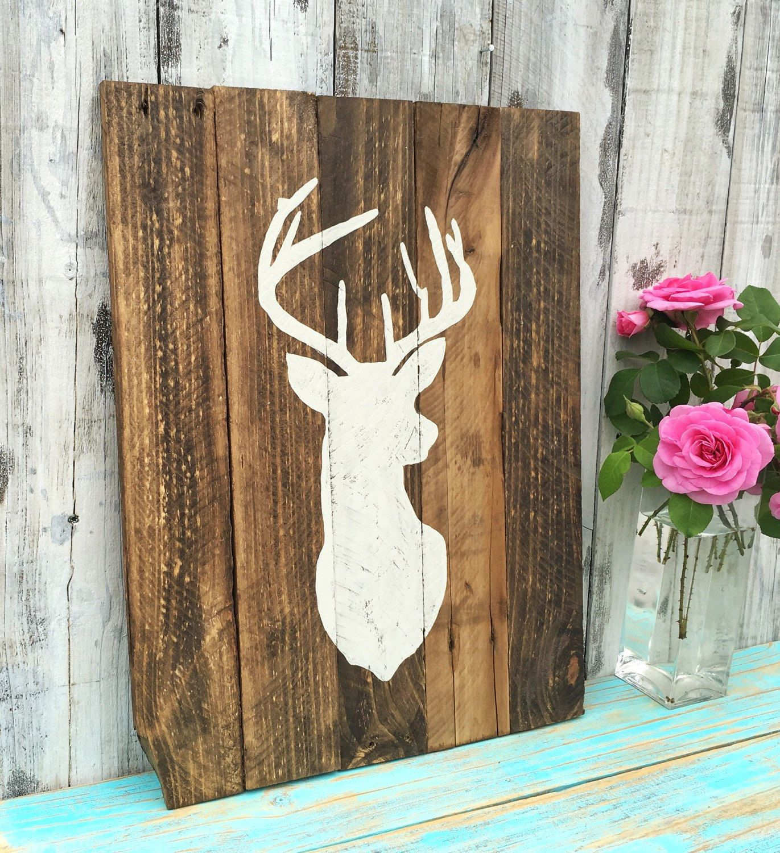 Beautiful Deer Silhouette Wall Hanging Sign Rustic Reclaimed Wood Hand