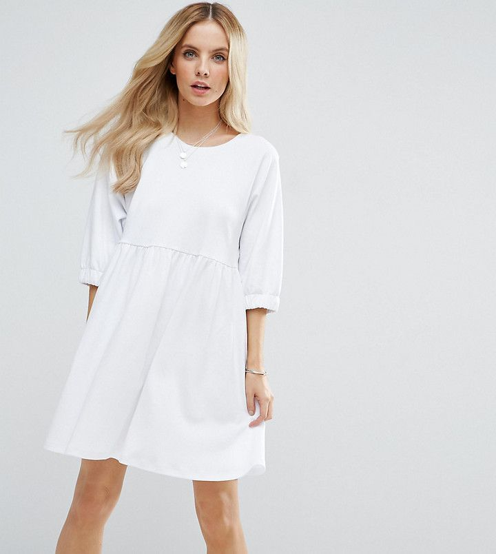 7cf104007b PETITE Cotton Smock Dress with Elastic Cuff Detail