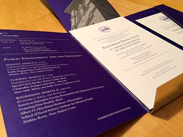 Furman University Presidential Inauguration on Behance Furman - best of invitation samples for inauguration